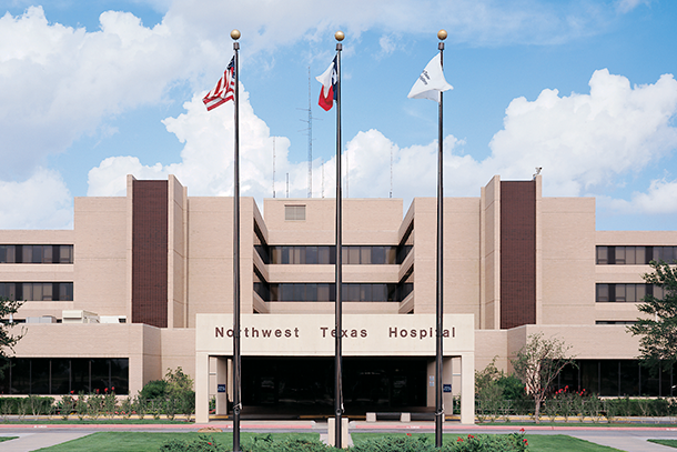 Photo of exterior shot of North West Texas Hospital.