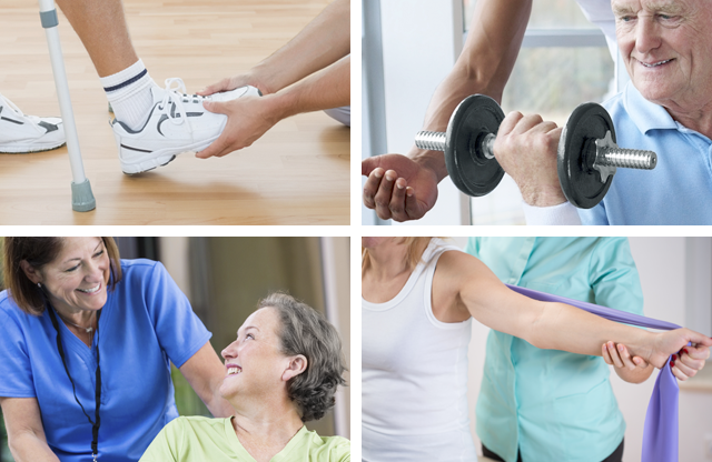 Photo montage of images of people going through physical rehabilitation.